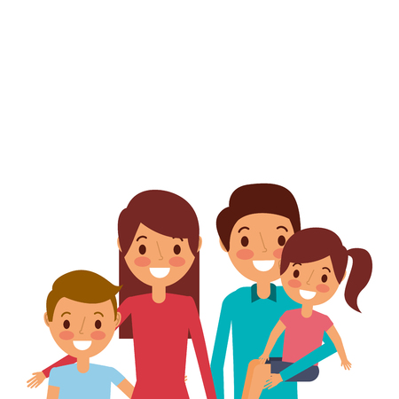 portrait happy family parents together with son and daughter vector illustration Illustration
