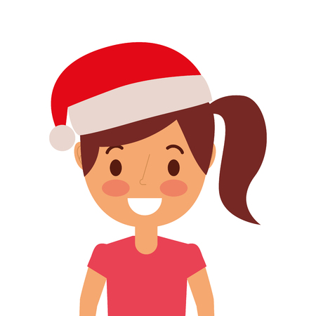 portrait cartoon woman smiling character wearing christmas hat vector illustration