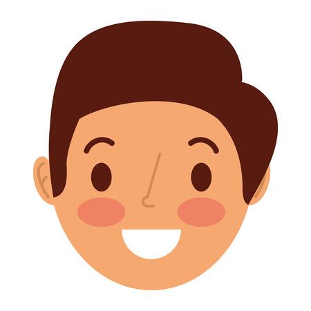 face smiling man adult cartoon character vector illustration