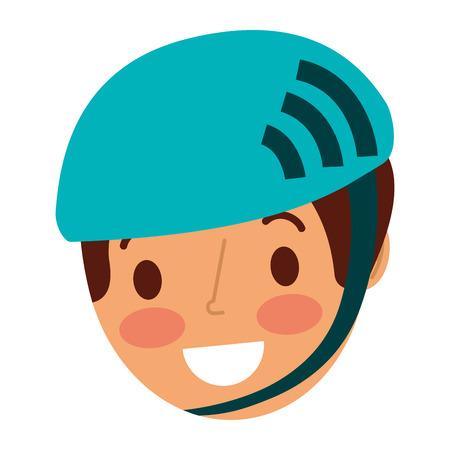 kleine jonge jongen sport helm vector illustratie dragen Stock Illustratie