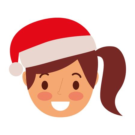 little girl smiling wearing christmas hat vector illustration Illustration