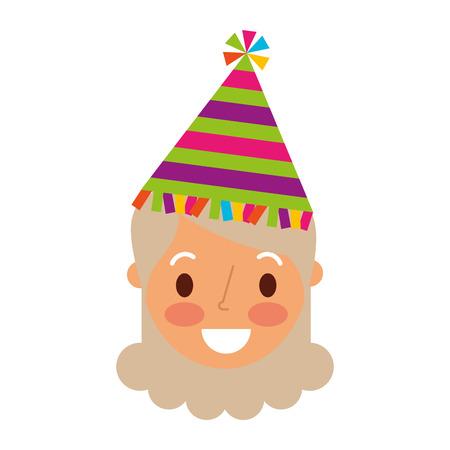 Cara da avó personagem feminina com chapéu de festa. Foto de archivo - 91216493