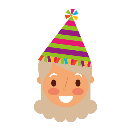 Face of grandmother female character with party hat. Illustration