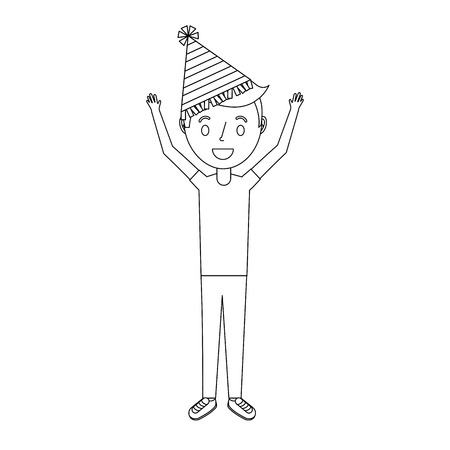 happy young boy with party hat arms up vector illustration