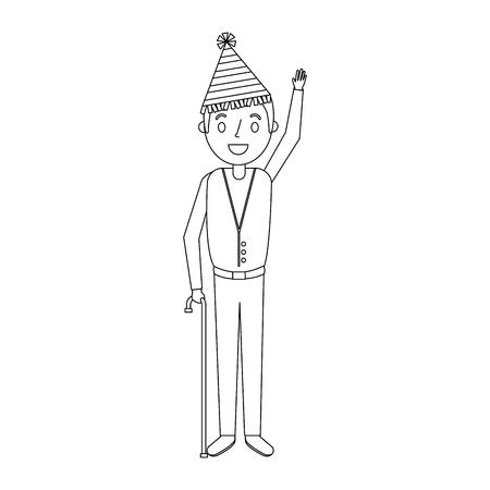 パーティー帽子をかぶった男が手を振ってる
