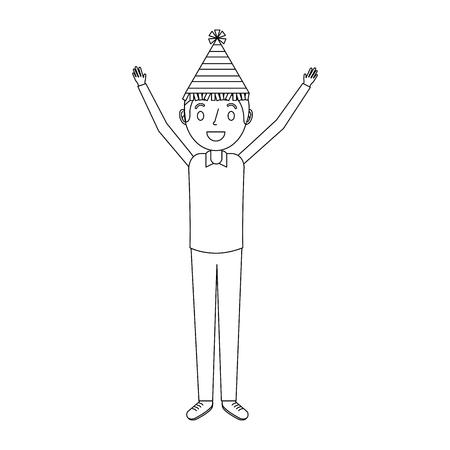 Gelukkig man met feest hoed met armen omhoog vector illustratie Stockfoto - 91216975