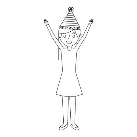 パーティー帽子と腕アップベクトルイラストで幸せな肖像女性  イラスト・ベクター素材