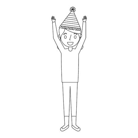 LTere Frauengroßmutter mit Parteihut und Armen oben vector Illustration Standard-Bild - 91216981