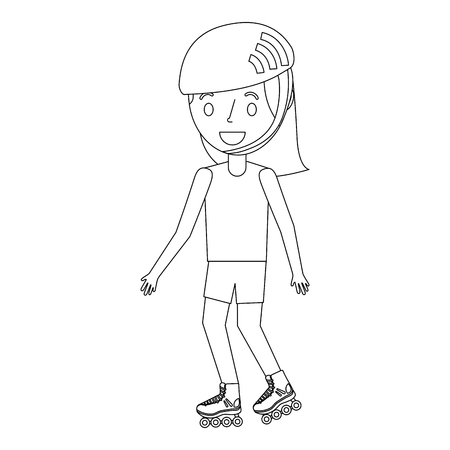 Girl wearing a helmet and roller skate illustration. Ilustracja