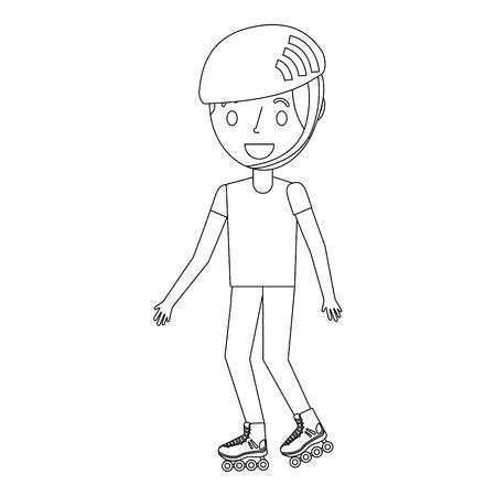 kid wearing helmet and roller skate funny vector illustration