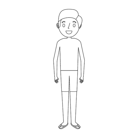 jonge vader dragen zwembroek en sandalen vector illustratie