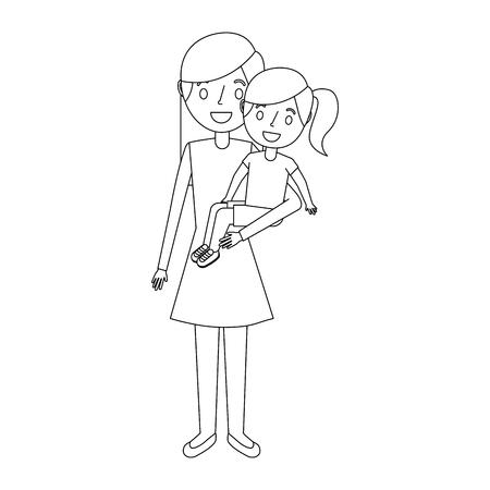 mom carrying her little daughter vector illustration Illusztráció
