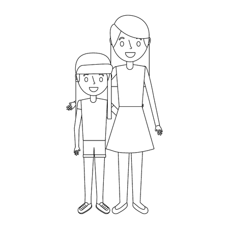mom embracing with her daughter standing vector illustration Illusztráció