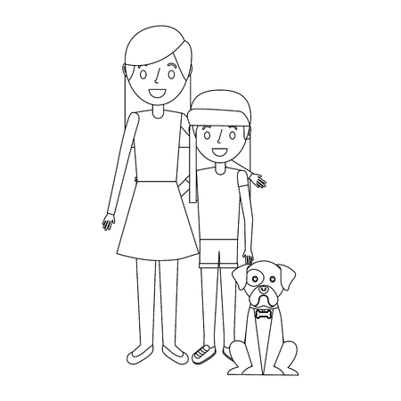 mom embracing with her daughter and dog vector illustration