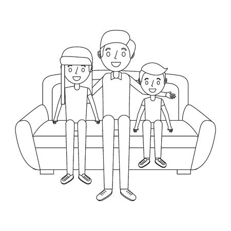 ソファベクトルイラストに座っている彼女の息子と娘とお父さん
