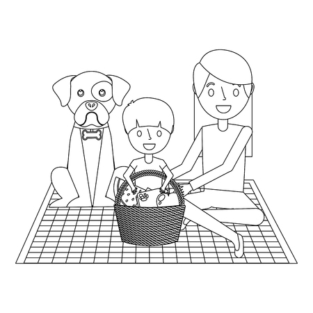 mom and son their dog sitting on a blanket with picnic dinner vector illustration