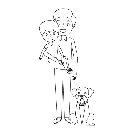 Father holding his son holding a dog. Illustration