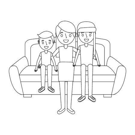mom sitting in sofa with her daughter and son vector illustration Illustration