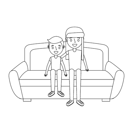Two man sitting on a sofa.