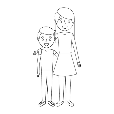 mom embracing her boy son happy vector illustration Ilustracja