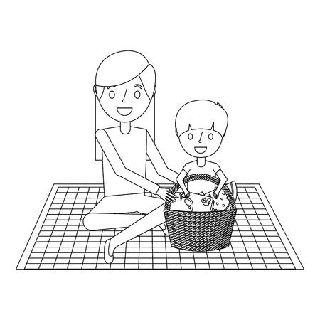 Mamma con suo figlio che si siede sulla coperta con il contorno dell'illustrazione di vettore del canestro dell'alimento Archivio Fotografico - 91218130