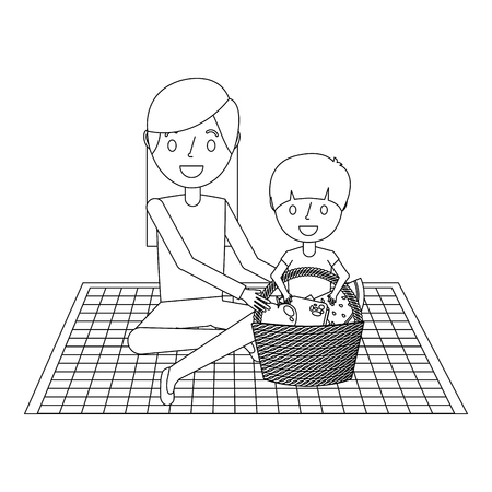 mom with her son sitting on blanket with food basket vector illustration outline Illusztráció