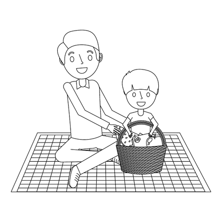 father with her son sitting on blanket with food basket vector illustration outline