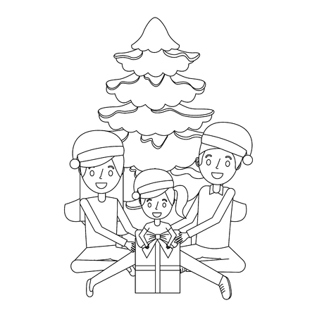 happy family the parents and daughter with christmas tree and gift vector illustration outline