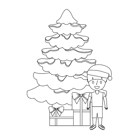 happy kid wearing christmas hat with tree and gifts vector illustration outline Illustration