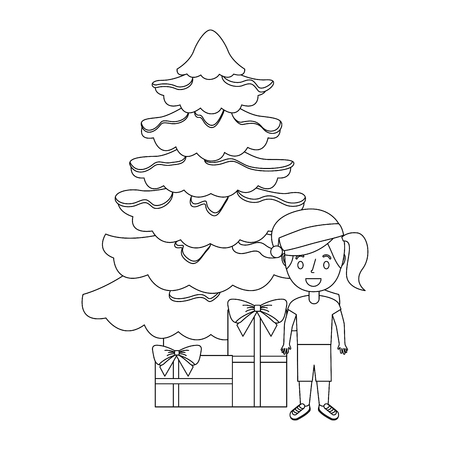 happy girl wearing christmas hat with tree and gifts vector illustration outline