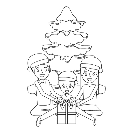 happy familiy the parents and child with christmas tree and gift vector illustration outline