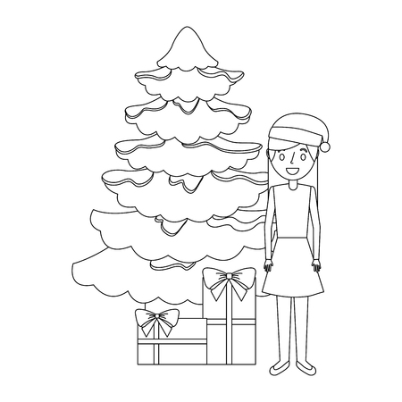 mom standing christmas tree and gift boxes vector illustration outline