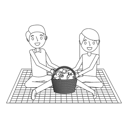 couple parents sitting on blanket picnic and food basket vector illustration outline