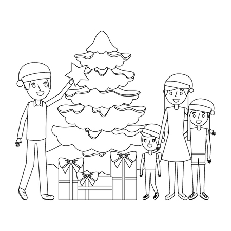 family decorating christmas tree and gift boxes vector illustration outline
