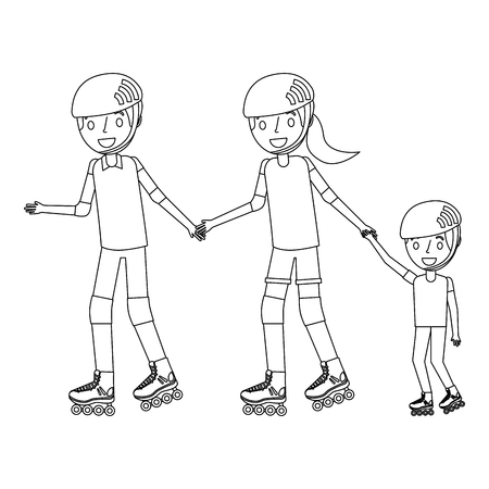 dad mom and son with roller skate and helmet vector illustration outline