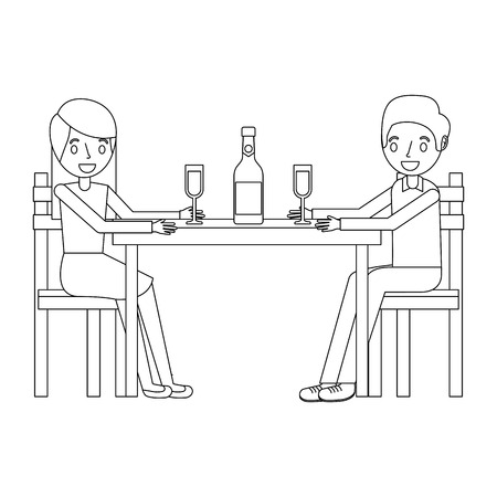 couple parents sitting with wine bottle glass vector illustration outline
