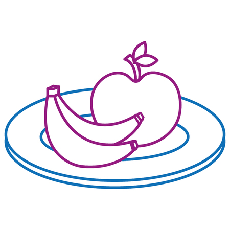 Dish with apple and banana illustration design. Banco de Imagens - 91219107