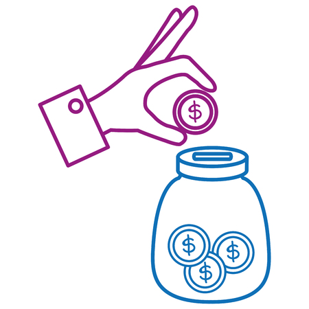 Hand saver with glass jar and coins money vector illustration design Stock fotó - 91229892
