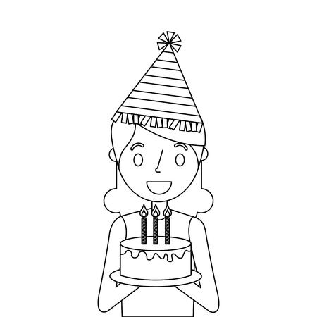 Woman holding birthday cake illustration.