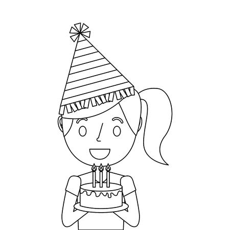Little girl wearing party hat holding birthday cake illustration. Illustration