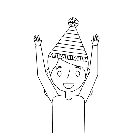 elderly woman grandma with party hat and arms up vector illustration outline