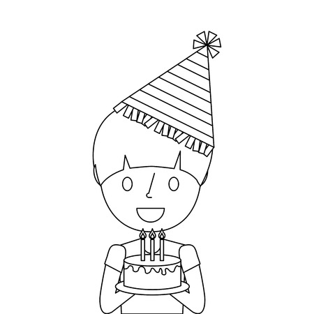 cute young boy holding birthday cake wearing party hat vector illustration outline Illustration