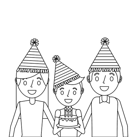 family parents and her kid with party hat holding birthday cake vector illustration outline