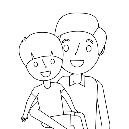 portrait dad carrying his son vector illustration outline