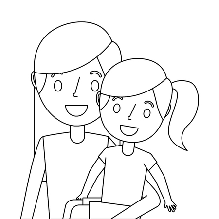 young mom carrying her daughter happy vector illustration outline