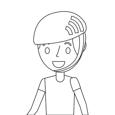 Jonge jongen met de illustratie van de sporthelm. Stock Illustratie