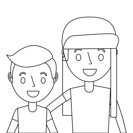 Portrait of cute boy and girl embracing holding each other. Illustration