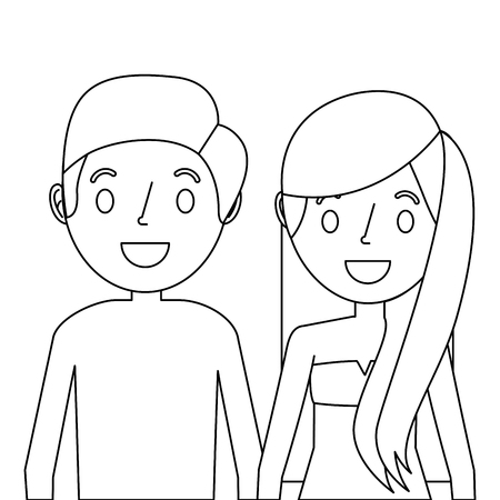 Couple holding hands illustration.
