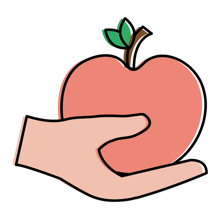 Hand with red apple illustration.