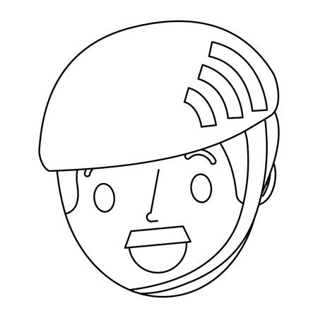 kleine jongen dragen sport helm vector illustratie schets Stock Illustratie